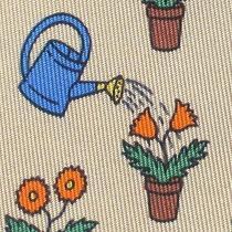 100% Real Hermes Tie  Tan W/ Blue Water Can Watering Spring Orange Flower Pots Photo
