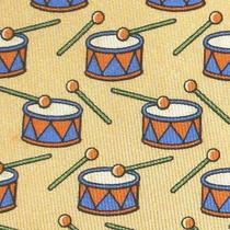 100% Real Hermes Tie  Yellow Orange W Blue & Orange Christmas Drum & Drum Stick Photo