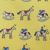 100% Real Hermes Tie  Yellow Whimsical Tan Rocking Horses & Playful Jockeys Xl Photo