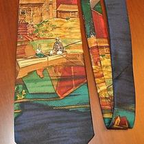 100% Silk Eddie Bauer Outdoor Outfitter Mens Neck Tie Fish Fishing Boat Blue   Photo