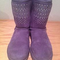100% Ugg Authentic Guaranteed Womens Classic Purple Shot Bling Boots Sz 8 Photo