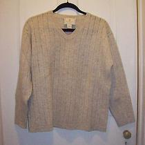 100% Wool Beige v Neck Sweater Medium Photo