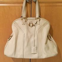 100% Yves Saint Laurent Ysl Large White Leather Tote Bag Excellent Condition Photo