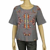 101347 Antik Batik Brian Tee Embroidered Embellished Kimono Blue Blouse Top L 42 Photo