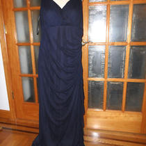 10585w Made Usa New Betsy & Adam 2 Layers Navy Party Dress Rhinestones Size 14w  Photo