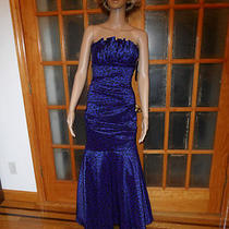 10725 Size 10 Made in Usa New Betsy & Adam Stretch Taffeta Sapphire Party Dress Photo