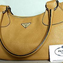 1098pradavitello Dainosabbia Camel Tan Pebbled Leather Bag Hobopursesilver Photo