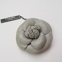 10a Chanel Gray Suede Fabric Camellia Flower Pin Brooch Neiman Marcus Box Nwt Photo