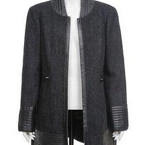 10a Chanel Grey Black Wool Leather Trim Jacket Coat Fr-38/40 Photo