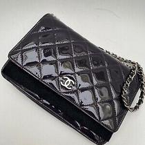 10a Chanel Purple Plum Woc Wallet on Chain Patent Leather Clutch Shoulder Bag  Photo
