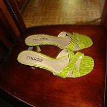 10m Moda Spana Ladies Pea Mint Green Kitten Heel Shoes Sandals Strappy Faux Croc Photo