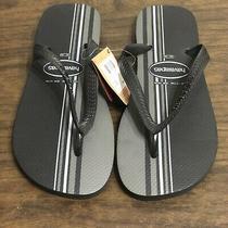 11 / 12 Havaianas Men's Top Basic Black & Gray Striped Rubber Flip-Flop Sandals Photo