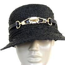 110 Rachel Zoe Newspaper Boy Straw Hat Black Raffia W/leather Belt Buckle Trim Photo