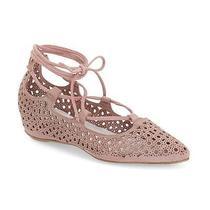 115 Jeffrey Campbell Atsuko Cut Out Lace Up Ballet Flats 9 Pink Blush Wedge Photo