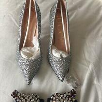 1175 Gucci Glitter Heart Heels Pumps Shoes 37.5 7 1/2 Pink Soles Photo