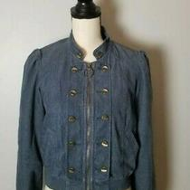 118 Anthropologie Idra Blue Corduroy Zip Double Breasted Bomber Jacket Photo