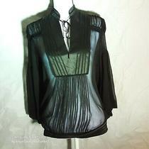 118 Bcbg Black Tie Sheer Beautiful Designer  Long Sleeve Top Sz Medium Photo