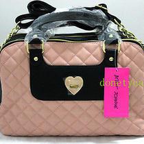 118 Betsey Johnson Blush Heart Turnlock Satchel Bag Handbag Photo