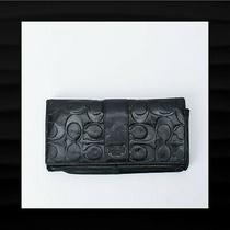 118 Coach Black Embossed Signature Stripe Leather Envelope Wallet Clutch 1283 Photo