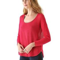 118 Joie Soft Open Mesh Sweater Xs Hot Pink Crochet Knit Pullover Top Photo