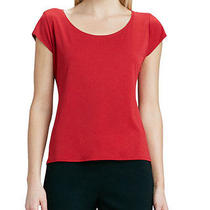 118 Nwt Eileen Fisher Stretch Silk Jersey Lacquer Red Cap Sleeve Tee Top L Photo
