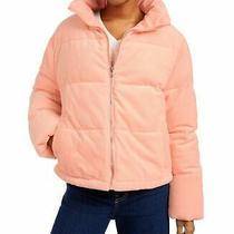 119 Collection-B Women's Winter Jacket Rust Pink Corduroy Puffer Coat Size M Photo