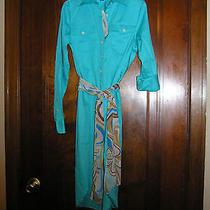 119 Ralph Lauren Canyon Turquoise Shirt Dress 100% Cotton Sz 2p 0314 Photo