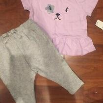12 18 M Baby Gap Gymboree Purple Puppy Top Glitter Joggers Girl Outfit Nwt  Photo