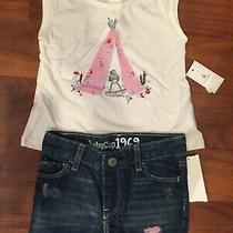 12 18 M Baby Gap White Embroidered Shirt Blue Denim Jean Shorts Girl Outfit Nwt Photo