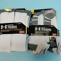 12 Pairs of Under Armour Ua Resistor Training Socks White Large Mens Shoe 9-12.5 Photo