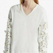 120 Anthropologie French Connection Manzoni 3d Lace Floral Sleeves Small Ivory Photo