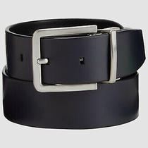 120 Calvin Klein Mens Black Blue Leather Reversible Harness Buckle Belt Size 38 Photo