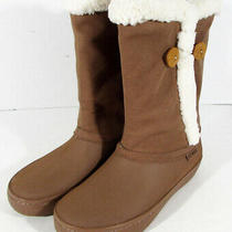120 Crocs Womens Modessa Synthetic Suede Button Boots Bronze/oatmeal Us 8 Photo