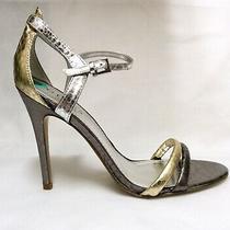 120 Guess Shalena Metallic Gold/pewter/silver Ankle Strap Sandal Heels Pumps 8m Photo