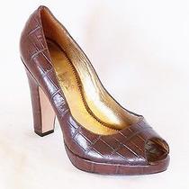 120 Vince Camuto Verinas Brown Leather Platform Peep Toe High Heels Pumps Sz 10 Photo