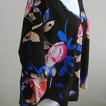 120 Yumi Kim Women's Floral Multi Color 3/4 Sleeves Open Back Top Blouse Size S Photo