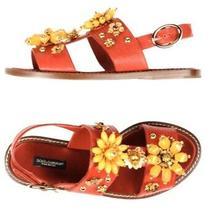 1200 Dolce Gabbano Dressy Flat Red Sandal Shoes 37 Photo