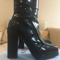 1249 Lanvin Auth Ankle Boots Platform Leather Black Block Heels Paris Sz 38 75 Photo