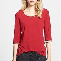 125 Burberry Brit Check Trim Tee in Lacquer Red (S) Photo