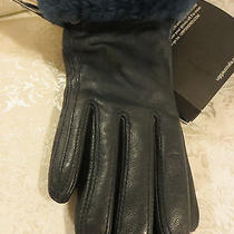 125 Nwt Ugg Australia Real Fur Leather Touch Screen Compatible Gloves  S  Photo