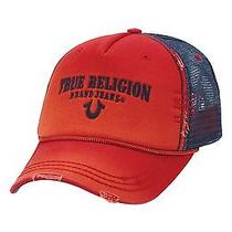 125 True Religion Triple X Men's Vintage Red Cap Baseball Trucker Hat One Size Photo