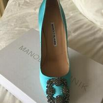1275 New Manolo Blahnik Tiffany Blue Satin Hangisi Heels Pumps Shoes 37.5 7 1/2 Photo