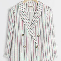 128 Anthropologie Anna Double-Breasted Blazer Womens Size Medium White Striped Photo