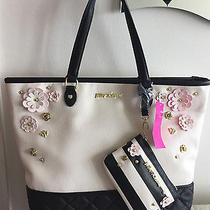 128 Betsey Johnson 2 in 1 Be Mine Tote Bone / Black Blush Flowers Handbag New Photo