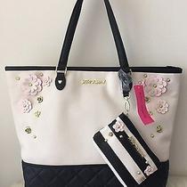 128 Betsey Johnson 2 in 1 Be Mine Tote Bone Black Blush Flower Handbag Purse E Photo