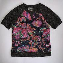 128 New Anthropologie James Coviello Black Brocade-Spliced Shimmer Tee Top Xs S Photo