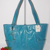 128 New Fossil Large Hathaway Turquoise Blue Glazed Leather Shopper Tote Bag Photo