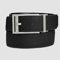 129 Calvin Klein Men's Black Leather Silver Buckle Reversible Belt Us Size 34 Photo