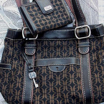 129 Fossil Tapestry Black Satchel With Free Matching Wallet Handbag Set  Photo