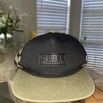 129 Guess Men's Black Logo Adjustable Flat-Brim Mesh Cap Snapback Hat One Size Photo